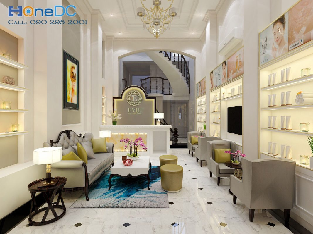 thiet ke spa evie spa quan 1 2 1067x800 1 - Lựa chọn ghế sofa trong thiết kế nội thất spa